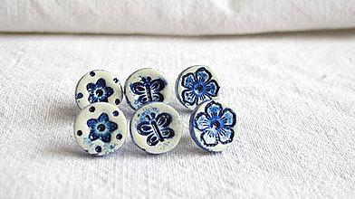 Náušnice - modrotlač_kvety a motýľ - 8359323_