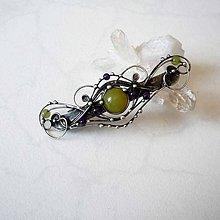 Ozdoby do vlasov - Spona s jadeity a ametysty - 8360122_
