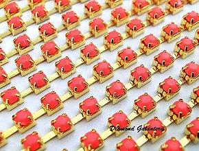 Komponenty - Štrasová borta - Candy Orange - 3 mm - cena za 10 cm - 8361107_