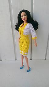 Hračky - Háčkované žltobiele šaty pre Barbie - 8361778_