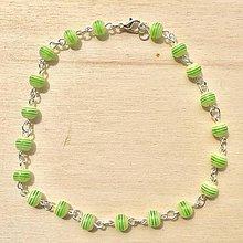 Náramky - Zelená retiazka na nohu - 8360636_