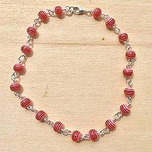 Iné šperky - Červená retiazka na nohu - 8360715_
