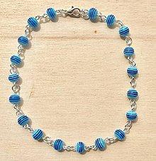 Iné šperky - Bledomodrá retiazka na nohu - 8360718_