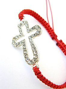 Náramky - big crystal cross shamballa - red fire - 8359780_