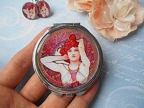 Zrkadielka - Dáma v červenom (zrkadielko + náušničky) - ZĽAVA zo 6,50 eur - 8360387_