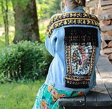 Kabáty - Vintage jeansová bunda s indiánskym motívom - 8360975_