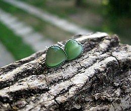 Náušnice - Mini srdiečka - mačacie oko (zelené svetlé mačacie oko - napichovačky č.1001) - 8359497_