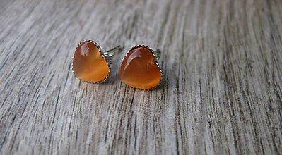 Náušnice - Mini srdiečka - mačacie oko (oranžové svetlé mačacie oko - napichovačky č.1007) - 8359565_