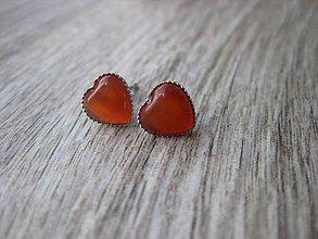 Náušnice - Mini srdiečka - mačacie oko (oranžové tmavé mačacie oko - napichovačky č.1014) - 8359616_