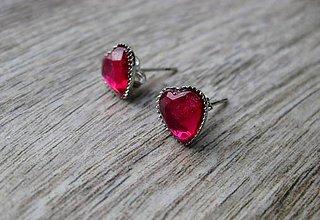 Náušnice - Srdiečka mini napichovačky - akrylové (Ružové fuchsia  č.1058) - 8360246_