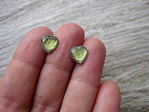 Náušnice - Srdiečka mini napichovačky - akrylové (Svetlo žlté  č.1125) - 8360294_