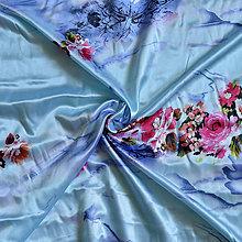 Textil - Satén s potlačou kytičky na akvamarínovo modrom podklade - 8365058_