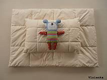 Úžitkový textil - Detská PRIKRÝVKA a VANKÚŠ 100% Ovčie rúno MERINO v sýpkovine  - 8363067_