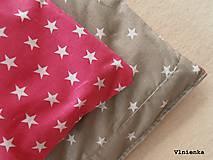 Úžitkový textil - Sivé a ružové HVIEZDIČKY návliečky do postieľky Obojstranné obliečky 100% bavlna - 8363317_