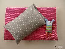 Úžitkový textil - Sivé a ružové HVIEZDIČKY návliečky do postieľky Obojstranné obliečky 100% bavlna - 8363319_