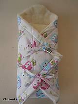 Textil - Klasická zavinovačka pre novorodenca zimná 100% MERINO TOP Sovička - 8364943_