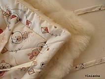 Textil - Klasická zavinovačka pre novorodenca zimná 100% MERINO TOP Macko smotanový - 8364974_