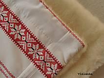 Textil - Detská deka s folklórnym motívom 100% ovčie rúno MERINO červená výšivka - 8365113_
