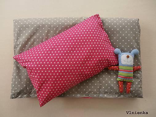 Sivé a ružové HVIEZDIČKY návliečky do postieľky Obojstranné obliečky 100% bavlna