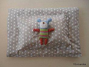 Úžitkový textil - Obliečky/ návliečky do postieľky 100% bavlna na mieru BODKA béžová a biela - 8363611_