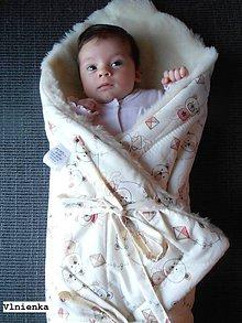 Textil - Klasická zavinovačka pre novorodenca zimná 100% MERINO TOP Macko smotanový - 8364975_