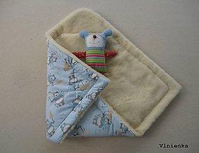 Textil - Klasická zavinovačka pre novorodenca 100% MERINO TOP Macko bledomodrý - 8365013_