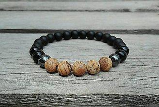 Šperky - Pánsky náramok - ónyx, hematit, jaspis - 8363481_