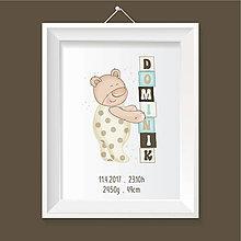 Grafika - Personalizovaný obraz do detskej izby s údajmi dieťatka a mackom s kockami - 8363246_
