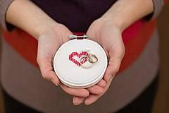 Prstene - podnos na svadobné prstienky Srdce - 8363110_