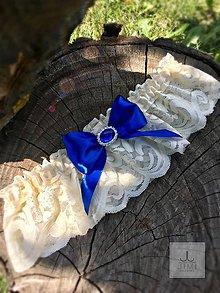 Bielizeň/Plavky - Svadobný elegantný podväzok Kráľovská modrá - 8363969_