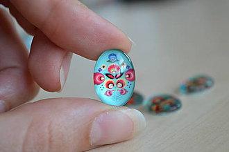 Komponenty - Kabošon sklenený folk tyrkys 13x18mm, 0.60€/ks - 8363443_