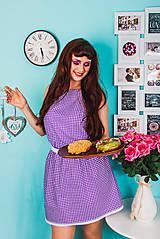 Šaty - Fialové šaty s bodkami - 8365726_