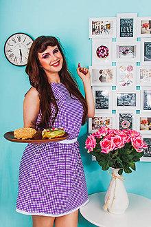 Šaty - Fialové šaty s bodkami - 8365730_
