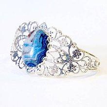 Náramky - Silver Blue Sea Sediment Jasper Bangle Bracelet / Obručový náramok s morským modrým jaspisom v striebornom preved. #0551 - 8365700_