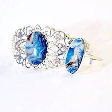 Sady šperkov - Silver Blue Sea Sediment Jasper Ring & Bracelet Set / Sada šperkov s morským modrým jaspisom v striebornom preved. /0551 - 8365712_