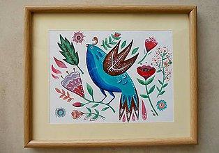 Obrázky - Vtáčik 1- obrázok v ráme - 8366760_