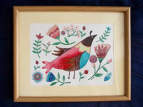 Obrázky - Vtáčik 2- obrázok v ráme - 8366784_