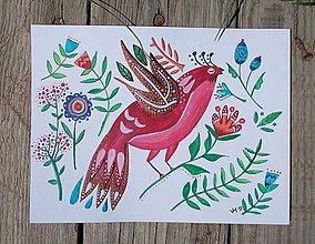 Obrázky - Vtáčik 3- obrázok v ráme - 8366796_