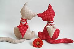 Dekorácie - Mačičky červeno-béžové - 8366283_