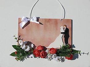 Tabuľky - Svadobná ozdobná tabuľka s nápisom podľa želania - 8367144_