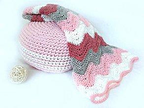 Úžitkový textil - Háčkovaná DEKA ružová - 8365687_