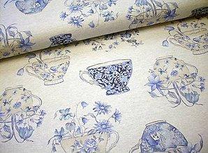 Textil - Poťahovka - modré hrnčeky s kvietkami - 8366858_
