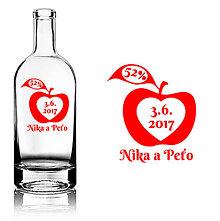Darčeky pre svadobčanov - Svadobná etiketa Apple - Jablkovica - Vyrezávané etikety, Svadobné etikety, Etikety na víno, Vinylové etikety, Etikety na fľaše, Nálepky na víno, Etikety na alkohol - 8367748_