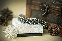 Náramky - Luxusný perličkový náramok - Sivá myška - 8366408_