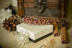 Náramky - Luxusný perličkový náramok - Škoricový zázrak - 8367759_