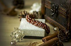 Náramky - Luxusný perličkový náramok - Škoricový zázrak - 8367763_