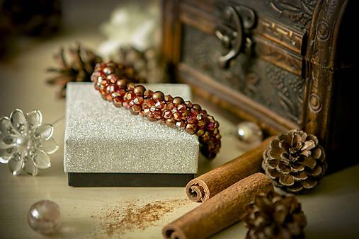 Luxusný perličkový náramok - Škoricový zázrak