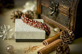 Náramky - Luxusný perličkový náramok - Škoricový zázrak - 8367760_
