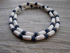Šperky - Pánsky náhrdelník okolo krku (bielo modrý - námorník č.1046) - 8365428_