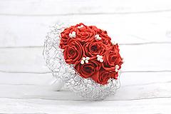 Kytice pre nevestu - Saténová kytica svadobná červená ruže - 8366427_